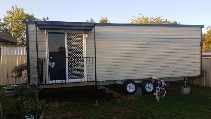 Temporary rental set up on backyard of property