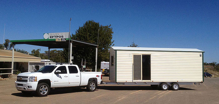 Transportable cabin being relocated to a new home ready for tenants looking for temporary accommodation.
