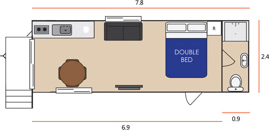 Floor plan for 1 bed studio relocatable cabin