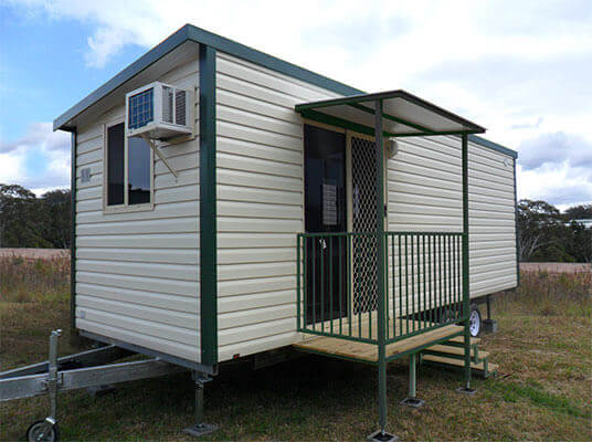 Outdoor view of a set up transportable home rental