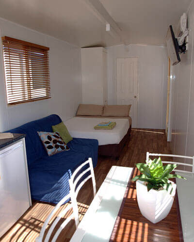 Nicely decorated interior of a transportable home for rent