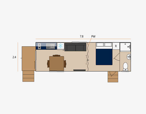 Studio rental cabin floor plan